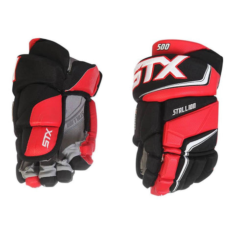 STX STALLION 500 JR HOCKEY GLOVES BLACK/RED