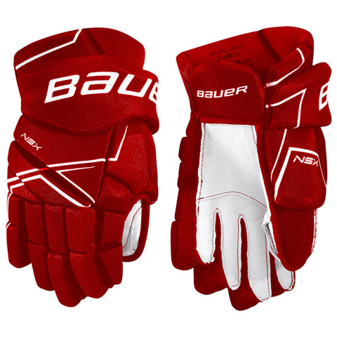 BAUER NSX SR HOCKEY GLOVES RED