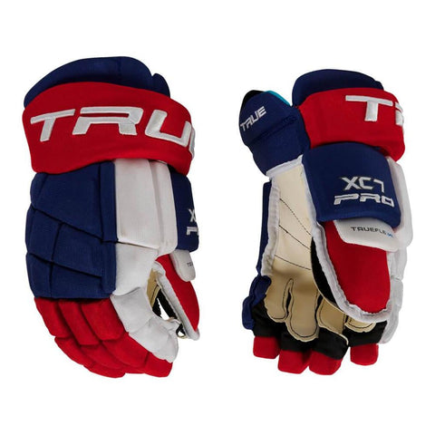 TRUE XC7 SR HOCKEY GLOVES RED/WHITE/BLUE