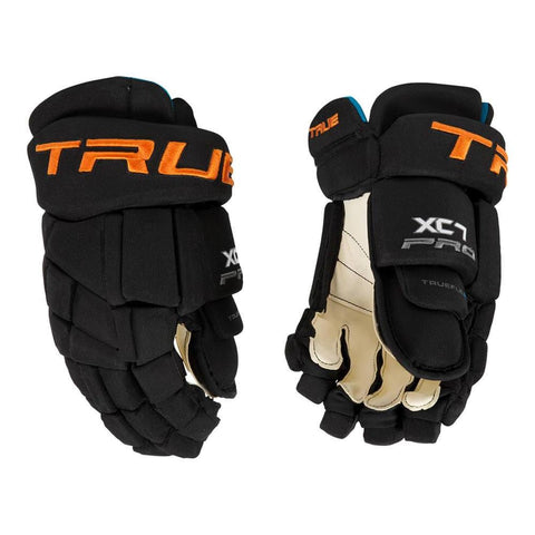 TRUE XC7 SR HOCKEY GLOVES BLACK/ORANGE