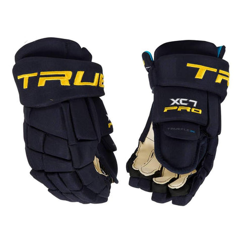 TRUE XC7 SR HOCKEY GLOVES NAVY/GOLD