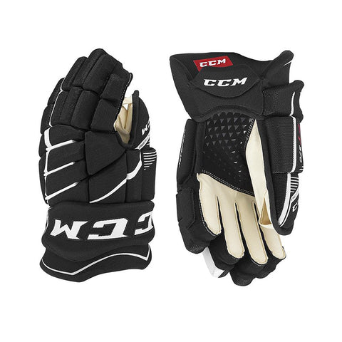 CCM JETSPEED FT370 JR HOCKEY GLOVES BLACK/WHITE