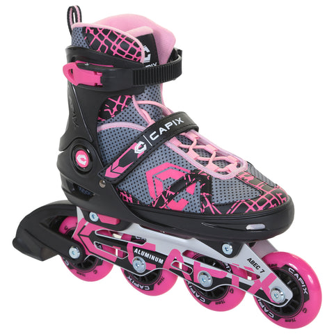 CAPIX F3 GIRLS' ADJUSTABLE INLINE SKATES SIZE 5-8