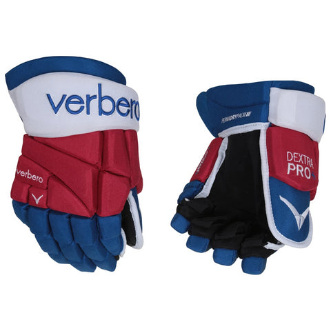VERBERO DEXTRA PRO+ SR HOCKEY GLOVES RED/WHITE/BLUE