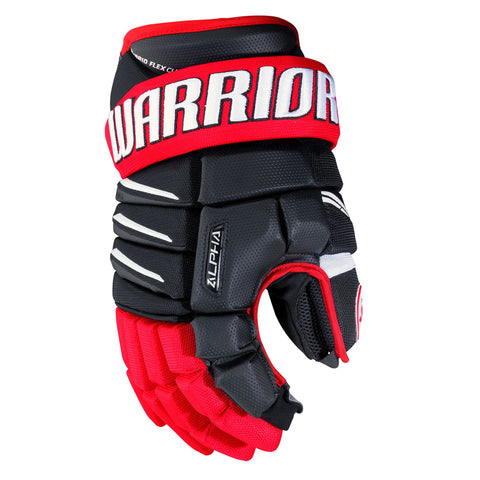 WARRIOR ALPHA QX SR HOCKEY GLOVES BLACK/RED/WHITE