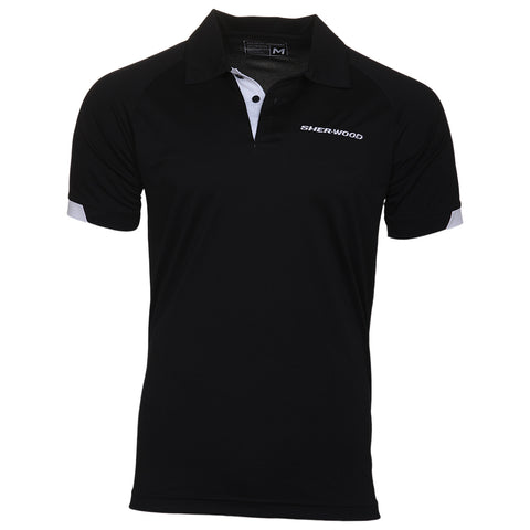 SHERWOOD HOCKEY MENS POLO BLACK/WHITE