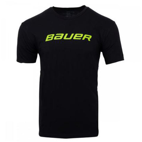 BAUER MEN'S CORE SS COLOUR POP TEE BLACK/LIME