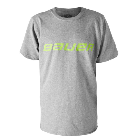 BAUER YTH CORE SS COLOUR POP TEE HEATHER GREY/LIME