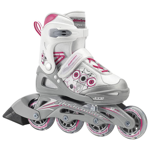 BLADERUNNER PHASER GIRL'S ADJUSTABLE INLINE SKATES WHITE/PINK SIZES 5-8