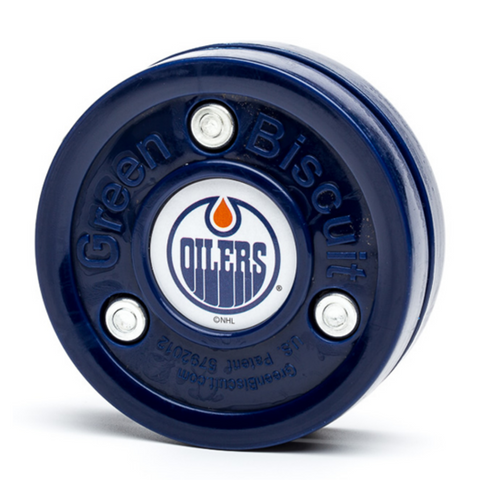 GREEN BISCUIT TRAINING PUCK EDMONTON OILERS