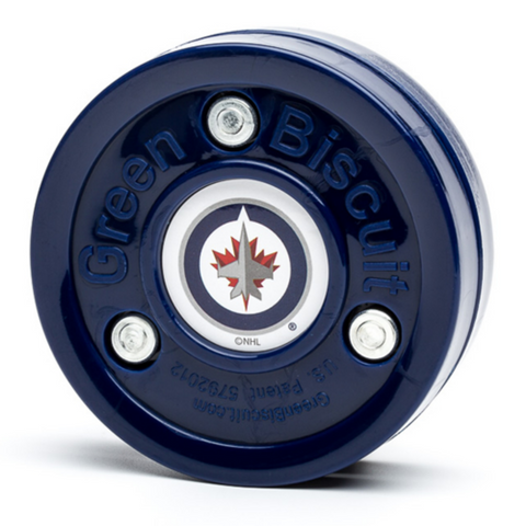 GREEN BISCUIT TRAINING PUCK WINNIPEG JETS