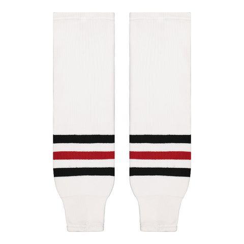 SHERWOOD TEAM KNIT SR HOCKEY SOCKS 28 INCH CHICAGO WHITE