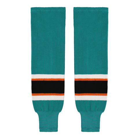 SHERWOOD TEAM KNIT SR HOCKEY SOCKS 28 INCH SAN JOSE TEAL