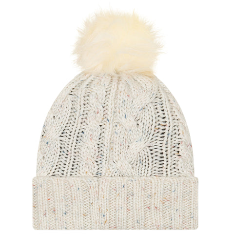 NEW ERA WOMEN'S TFC KNIT FUZZY POM HAT WHITE