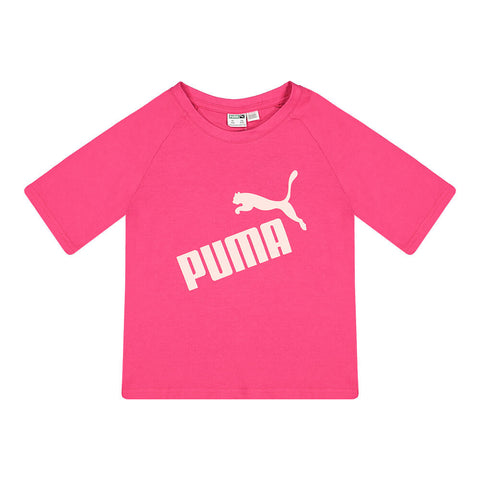 PUMA GIRL'S NO.1 LOGO PACK RAGLAN FASHION TEE BRIGHT ROSE/GLITTER