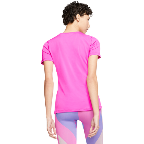 NIKE WOMEN'S PRO SHORT SLEEVE ALL OVER MESH ACTIVE FUSCIA