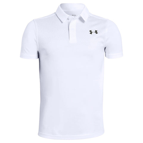 UNDER ARMOUR BOYS' TOUR TIPS ENGINEERED SHORT SLEEVE POLO WHITE