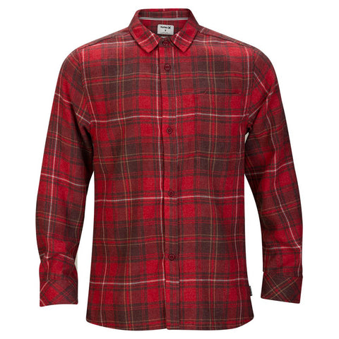 HURLEY BOYS' VEDDER WASHED LONG SLEEVE TOP TEAM RED