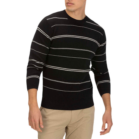 HURLEY MEN'S ROGERS STRIPE SWEATER BLACK MODEL