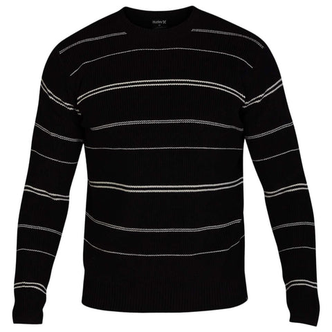 HURLEY MEN'S ROGERS STRIPE SWEATER BLACK