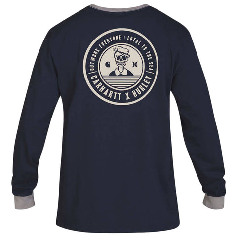 HURLEY MEN'S CARHARTT BFY RINGER LONG SLEEVE TOP OBSIDIAN BACK