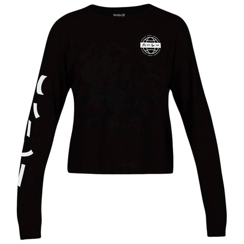 HURLEY WOMEN'S GLOBAL PERFECT LONG SLEEVE TOP BLACK