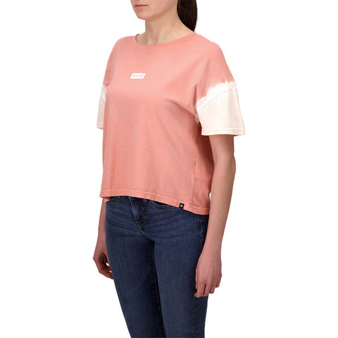 HURLEY WOMEN'S ONE AND ONLY SMALL BOX SLEEVE DYE FLOUNCY TEE PINK TINT