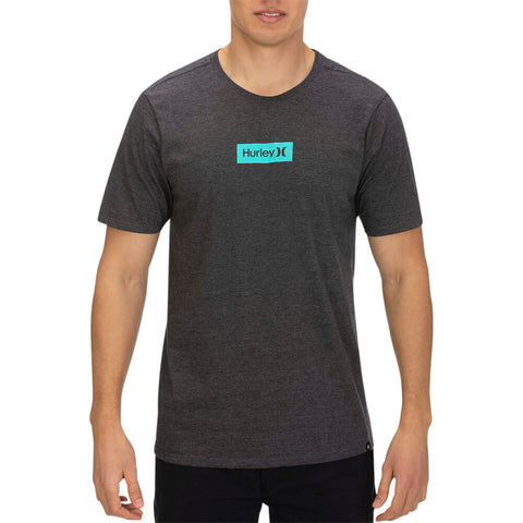 HURLEY MEN'S PREMIUM ONE AND ONLY SMALL BOX TEE BLACK HEATHER/GREEN MODEL