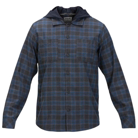 HURLEY MEN'S CROWLEY WASHED HOODED LONG SLEEVE TOP OBSIDIAN