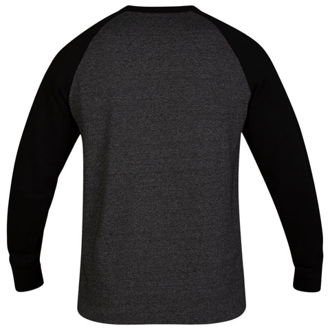 HURLEY MEN'S CRONE TEXTURED FLEECE CREW BLACK BACK