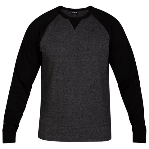HURLEY MEN'S CRONE TEXTURED FLEECE CREW BLACK
