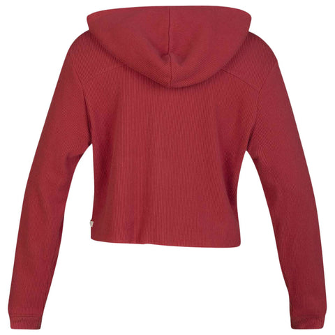HURLEY WOMEN'S CHILL RIB FLEECE CROP PULLOVER CEDAR BACK
