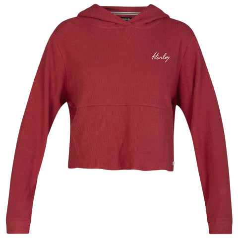 HURLEY WOMEN'S CHILL RIB FLEECE CROP PULLOVER CEDAR