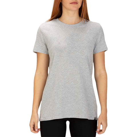 HURLEY WOMEN'S SOLID PERF CREW TEE SHORT SLEEVE TOP GREY HEATHER MODEL