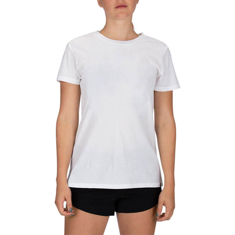 HURLEY WOMEN'S SOLID PERF CREW TEE SHORT SLEEVE TOP WHITE MODEL