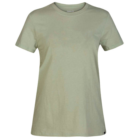 HURLEY WOMEN'S SOLID PERF CREW TEE SHORT SLEEVE TOP JADE HORIZON