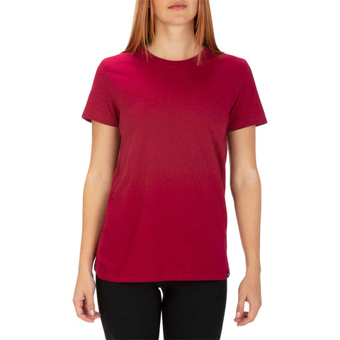 HURLEY WOMEN'S SOLID PERF CREW TEE SHORT SLEEVE TOP NOBLE RED MODEL