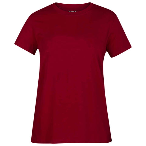 HURLEY WOMEN'S SOLID PERF CREW TEE SHORT SLEEVE TOP NOBLE RED