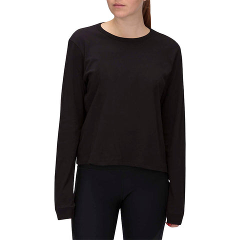 HURLEY WOMEN'S SOLID PERFECT LONG SLEEVE TOP BLACK MODEL