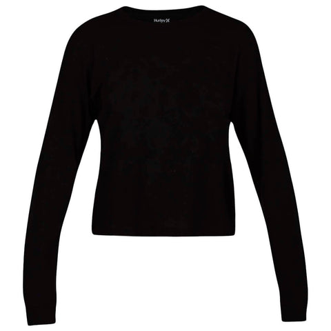 HURLEY WOMEN'S SOLID PERFECT LONG SLEEVE TOP BLACK