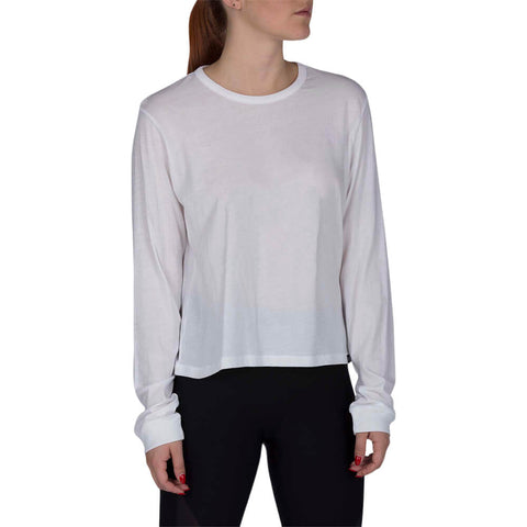 HURLEY WOMEN'S SOLID PERFECT LONG SLEEVE TOP WHITE MODEL