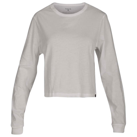 HURLEY WOMEN'S SOLID PERFECT LONG SLEEVE TOP WHITE