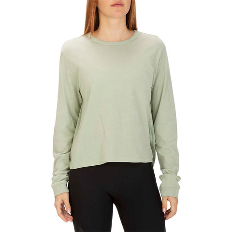 HURLEY WOMEN'S SOLID PERFECT LONG SLEEVE TOP JADE HORIZON MODEL