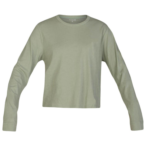 HURLEY WOMEN'S SOLID PERFECT LONG SLEEVE TOP JADE HORIZON