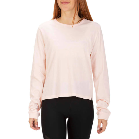 HURLEY WOMEN'S SOLID PERFECT LONG SLEEVE TOP ECHO PINK MODEL