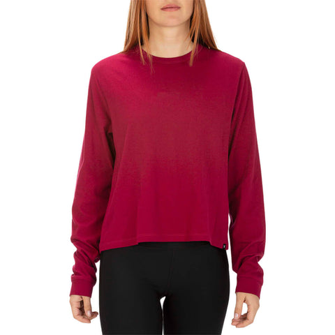 HURLEY WOMEN'S SOLID PERFECT LONG SLEEVE TOP NOBLE RED MODEL