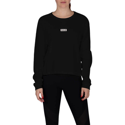 HURLEY WOMEN'S ONE AND ONLY BOX PERFECT LONG SLEEVE TOP BLACK MODEL