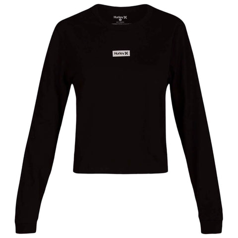 HURLEY WOMEN'S ONE AND ONLY BOX PERFECT LONG SLEEVE TOP BLACK