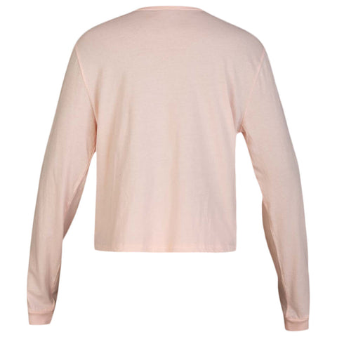 HURLEY WOMEN'S ONE AND ONLY BOX PERFECT LONG SLEEVE TOP ECHO PINK BACK