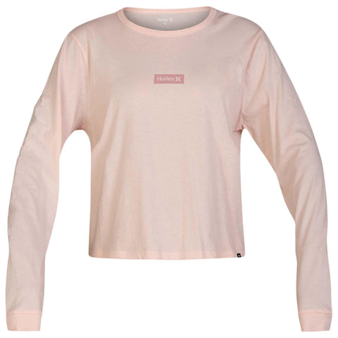 HURLEY WOMEN'S ONE AND ONLY BOX PERFECT LONG SLEEVE TOP ECHO PINK